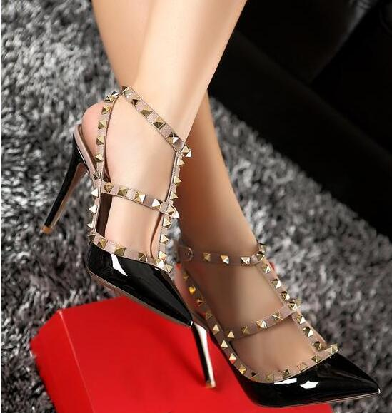 Brand Women Pumps Pointed Toe High Heels Fashion Women Shoes Rivets Pumps Genuine Leather Ankle Strap High Heel Shoes 34-43 wetkiss 2017 brand women pumps kid suede genuine leather summer pumps for women fashion pointed toe ankle strap high heels shoes