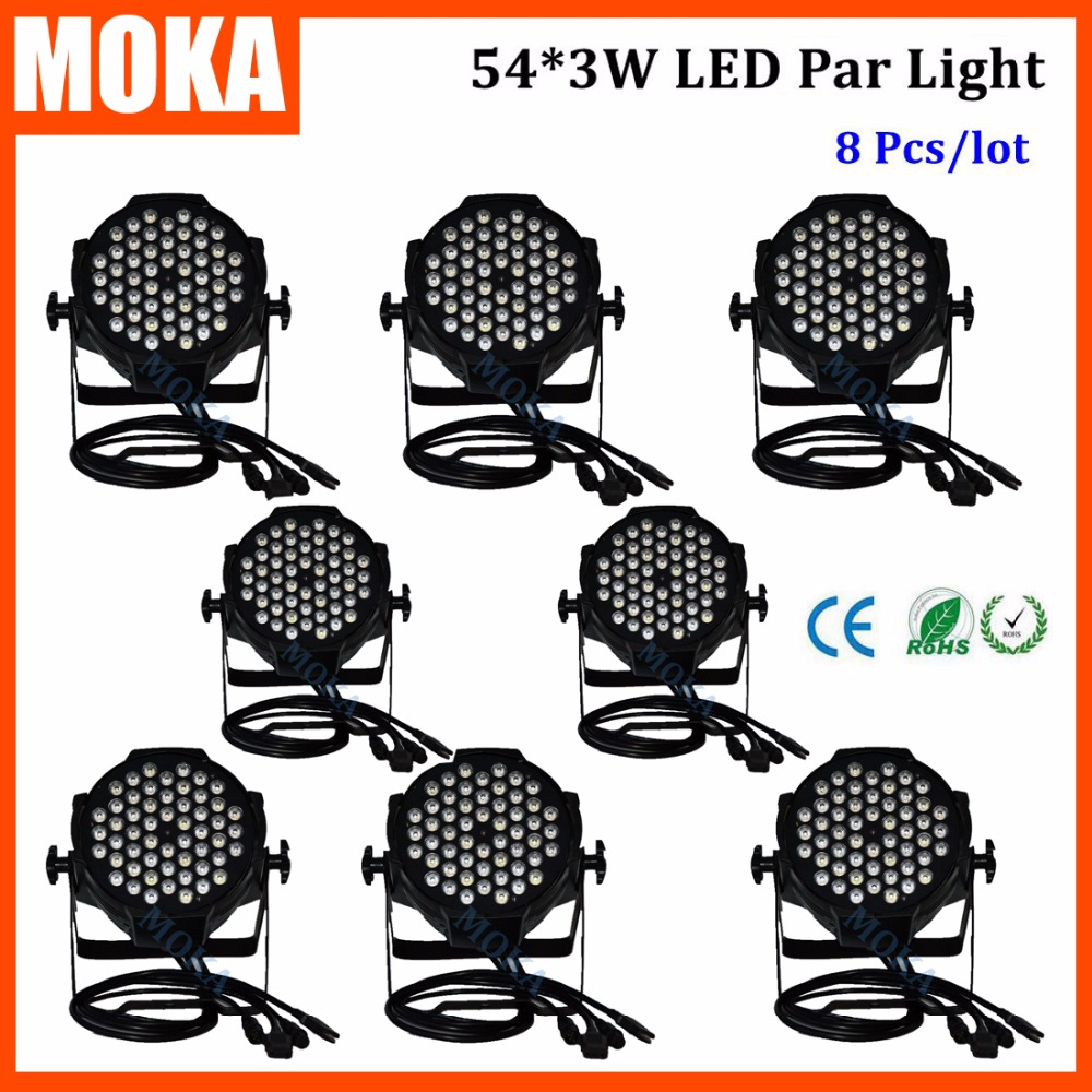 8PCS/LOT  Professional 54*3W Led Par Light 120W Led Par DMX Stage DJ Eqiupment for DJ Disco Party Club Stage Events rg mini 3 lens 24 patterns led laser projector stage lighting effect 3w blue for dj disco party club laser