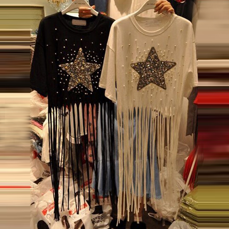 2017 Summer New O Neck Short Sleeve T Shirt For Women Star Sequined Beading T Shirt