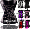 Spring New 2014 Sexy Gothic Rock Punk Metal Chain Faux Leather Ribbon Corset With G-string Lingerie