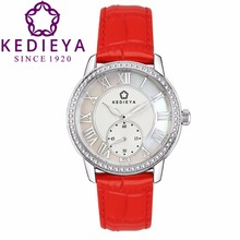 KEDIEYA Brand Women Watches Watch Luxury Italy Leather 60pcs Zircon Diamond Roman Vintage Style Small Dial White Silver Watch