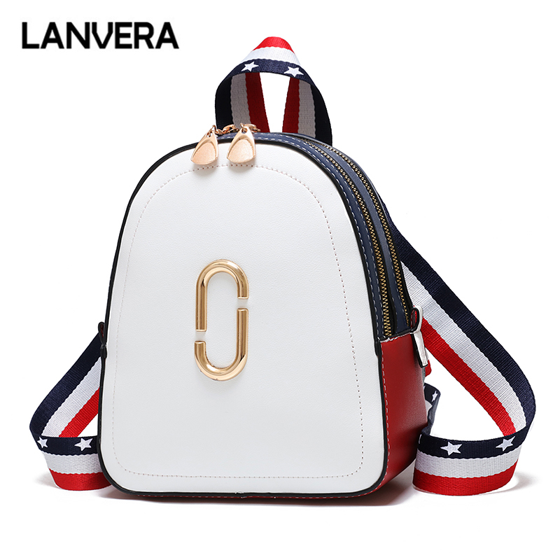 LANVERA Brand Women Cute Striped Sequined Rucksack High Quality Lady Shopping Messenger Shoulder Bags School Fashion Backpack