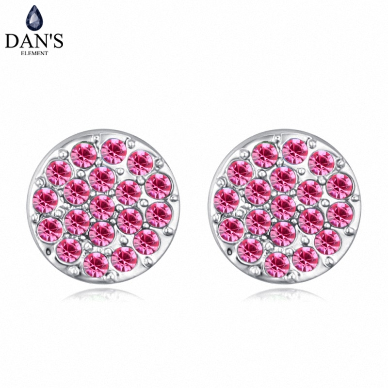 DANS 6 Colors Real Austrian crystals Stud earrings for women Earrings s New Sale Hot Round 128966