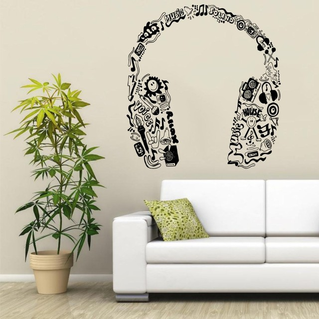 Music Series Headphones In Music Notes Tribal Pattern Special Vinyl Wall  Sticker Home Bedroom Decor Vinyl