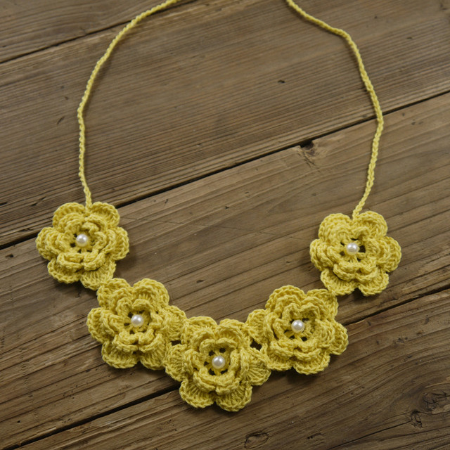 Statement Necklace Crochet Necklace Cotton Crochet Jewelry Flower