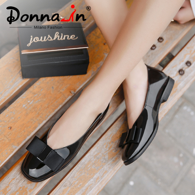 דונה-ב בלט דירות נעלי נשים אמיתי עור בלרינה קיץ מקרית שחור אדום להחליק על נעלי לנשים slipony mocasin 2019