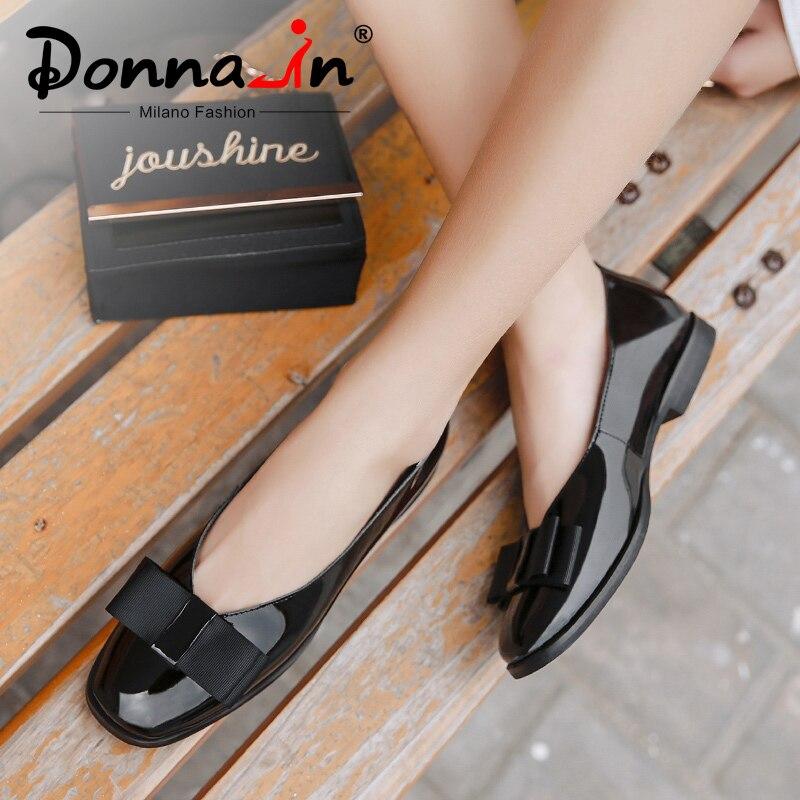 Donna-in Ballet chaussures plates femmes en cuir véritable ballerine décontracté noir rouge sans lacet chaussures pour femmes slipony mocasin 2019