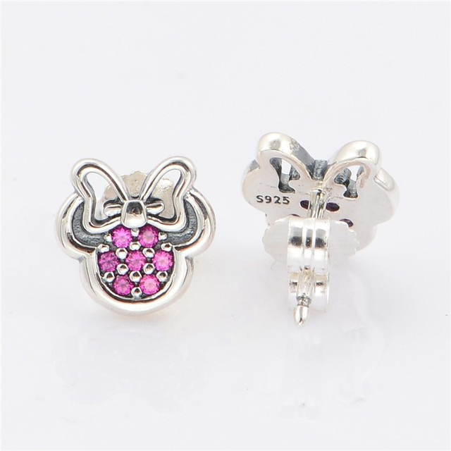 New 100%  Sterling Silver Stud Earrings Minnie Charm With Clear CZ Stones Women DIY fine Jewelry Wholesale Earrings making