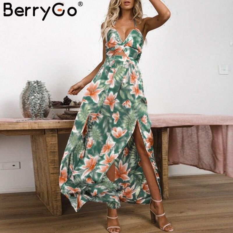 BerryGo Sexy v neck maxi long dress Women vintage high waist backless summer dress Floral print sundress party dress vestidos