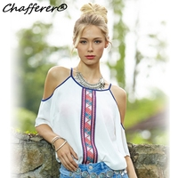 Summer Women Casual Chiffon Blouse Loose Tops Pringting Cool Strapless Off Shoulder Strap Cute Sexy Casual