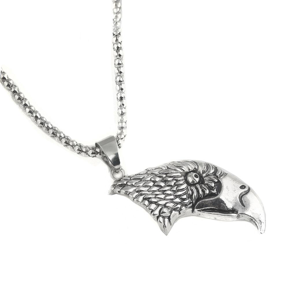 Fashion Punk Jewelry Vintage Moved Eagle Head Pendant Necklaces Antique Silver Choker For Men Women Souvenir Gift