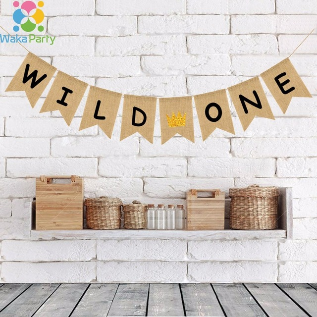 Wild One Bunting Banner Babys First Birthday Party Decorations For Kids Baby Boy Girl 1st