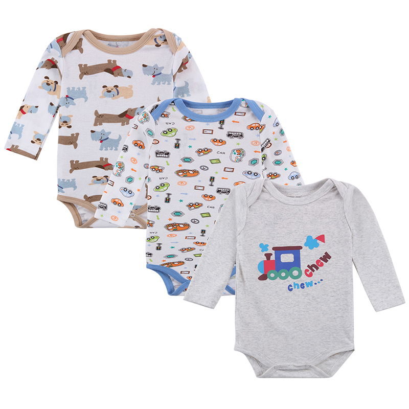 3Pcs/Lot Baby Rompers Long Sleeve,Baby Cotton Clothes Boys Girls,Infant Jumpsuit In Spring Autumn Winter,Unisex Baby Clothing new baby rompers long sleeve coveralls cute v neck baby clothes solid cotton infant romper spring autumn boys girls jumpsuits