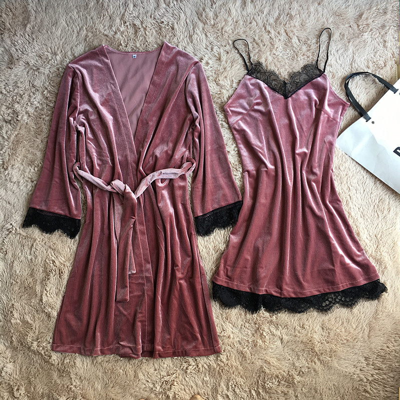 Women 2 PCS Robe Set Nightgown Sleepwear Lady Winter Velvet Warm Robes High Quality Solid Lace Patchwork Kimono Bathrobe Gown