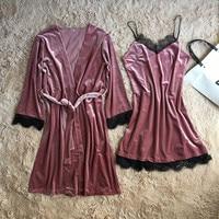 Women 2 PCS Robe Set Nightgown Sleepwear Lady Winter Velvet Warm Robes High Quality Solid Lace Patchwork Kimono Bathrobe Gown