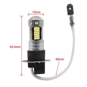 Image 2 - 2 adet yüksek güç DRL lambaları 30SMD 4014 H3 LED yedek araba ampulleri sis farları gündüz farları beyaz kırmızı mavi amber