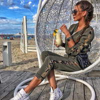 Chic Women 2 Piece Set Tracksuit and Pants Set Long Sleeve Jacket Front Zipper with Stripe Sequins Female Workout Outfits Army