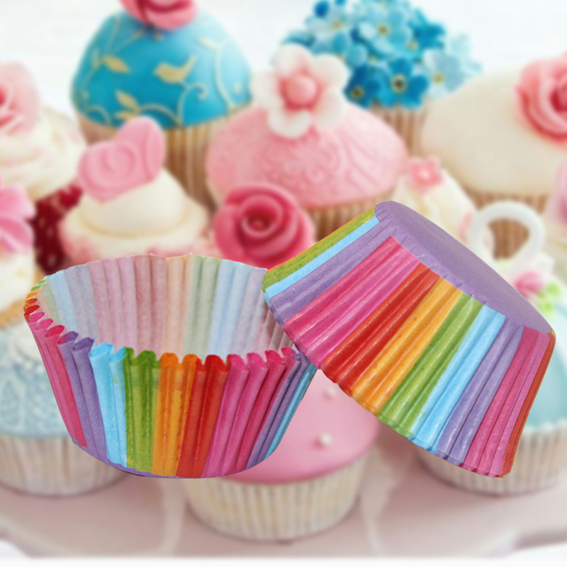 Cupcake Design Kitchen Accessories: Cupcake Cases Liners 100 Pcs Rainbow Paper Cake Cup