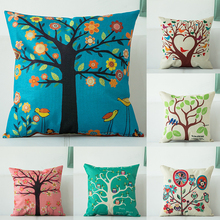 hot deal buy nordic style geometric flax pillow case colorful tree geometric pattern home decorative pillows cover for sofa pillowcase