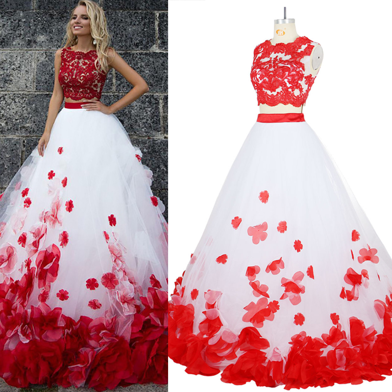 Flower Bohemia White Red Lace Prom Beach Two Pieces Tulle Evening Party Formal Long Gowns 2017