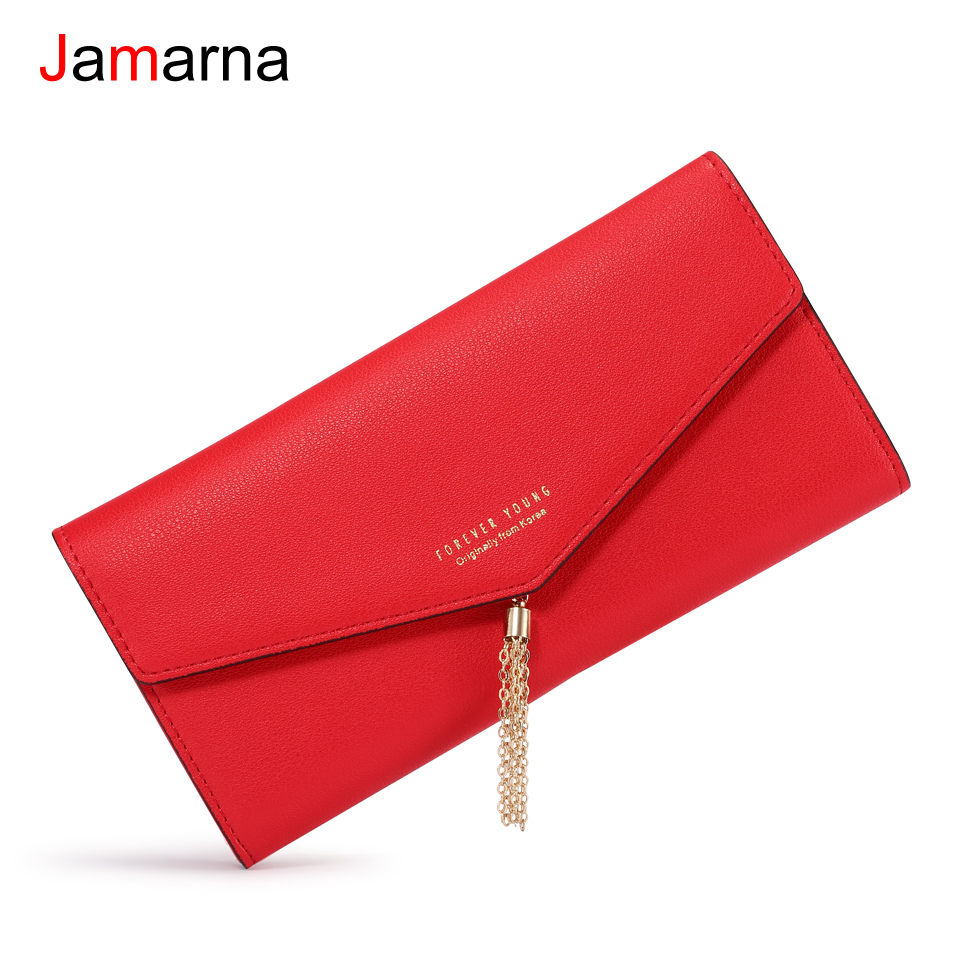 Jamarna Wallet Female Metal Tassel Women Wallets Black Red Long Clutch Women Wallet Female PU Leather Purse For Women Fashion jamarna brand wallet female genuine leather long clutch women purse with phone holder women wallets fashion crocodile leather