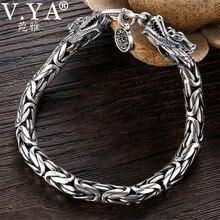 Groothandel Echte 100% Echte Pure 925 Sterling Zilveren Dikke Mannen Armband. Draak Armband. Gratis Verzending Mannen Fijne Sieraden HYB03