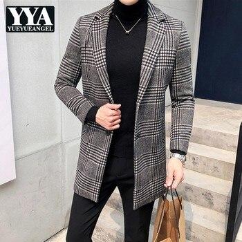 High Quality Luxury Mens Blazer Coat Korean Slim Fit Plaid Suit Jackets Male Brand Single Breasted Long Coats Plus Size L-4XL