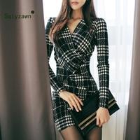 2019 Newest Women Sexy V neck Dress Long Sleeve Plaid Pattern Cross Warp Vintage Mini dress Vestidos Slim Winter Wrap Dresses