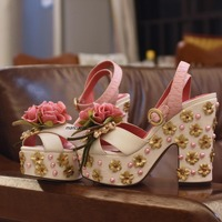Glamorous Pink PU Flowers Pearl Decorated Platform Sandals Buckle Style Gold Color Flowers Crystal Stick Block Heel Dress Sandal