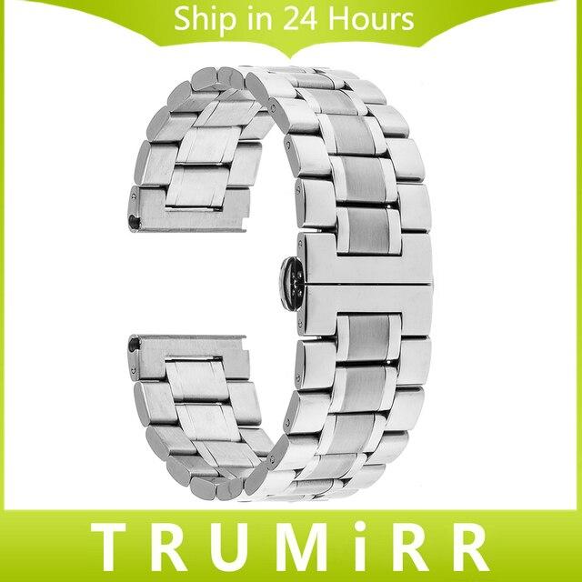 24 мм Из Нержавеющей Стали Ремешок для Sony Smartwatch 2 SW2 Smart Watch Группа Бабочка Пряжка Ремень Замена Серебряный Браслет
