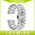 24mm correa de acero inoxidable para sony smartwatch 2 sw2 smart watch band pulsera de plata hebilla de mariposa correa de reemplazo
