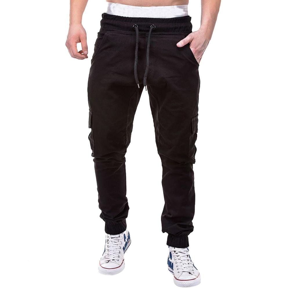 Большие размеры 4xl Мужская мода фитнес джоггеры одежда для мужчин s лоскутное повседневное Свободные тренировочные брюки уличная Мужская шнурок брюки - Цвет: Черный