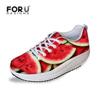 2016 Spring Summer Breathable Slimming Women Shoes Fashion Fruits Prints Height Increasing Casual Shoe Female Fitness