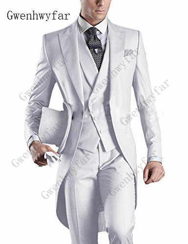 燕尾服朝スタイルメンズ結婚式スーツ紺新郎タキシードウェディングタキシード花婿の付添人スーツ 3 ピースベストの男性のスーツ