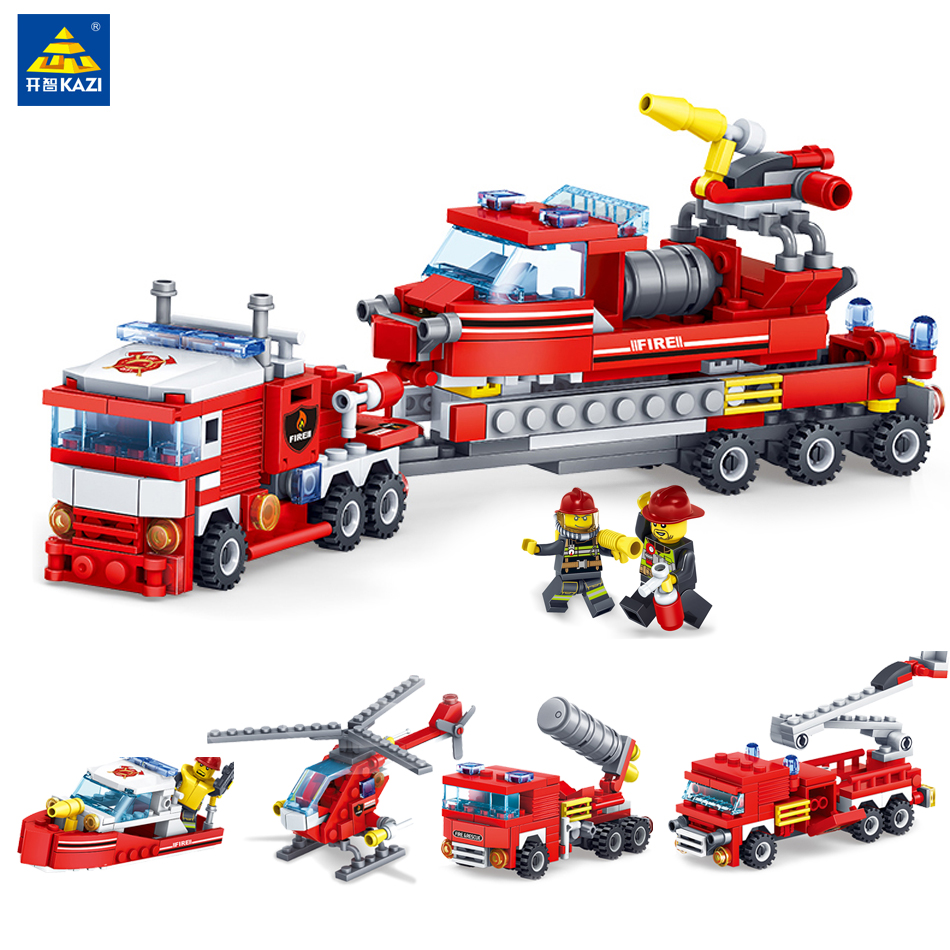 4 in 1 City Fire series heavy Truck Helicopter Boat Building Blocks Compatible legoe city Technic Fire Figures Toys lele technic city series 2 in 1 mining truck car building blocks bricks model kids toys marvel compatible legoe