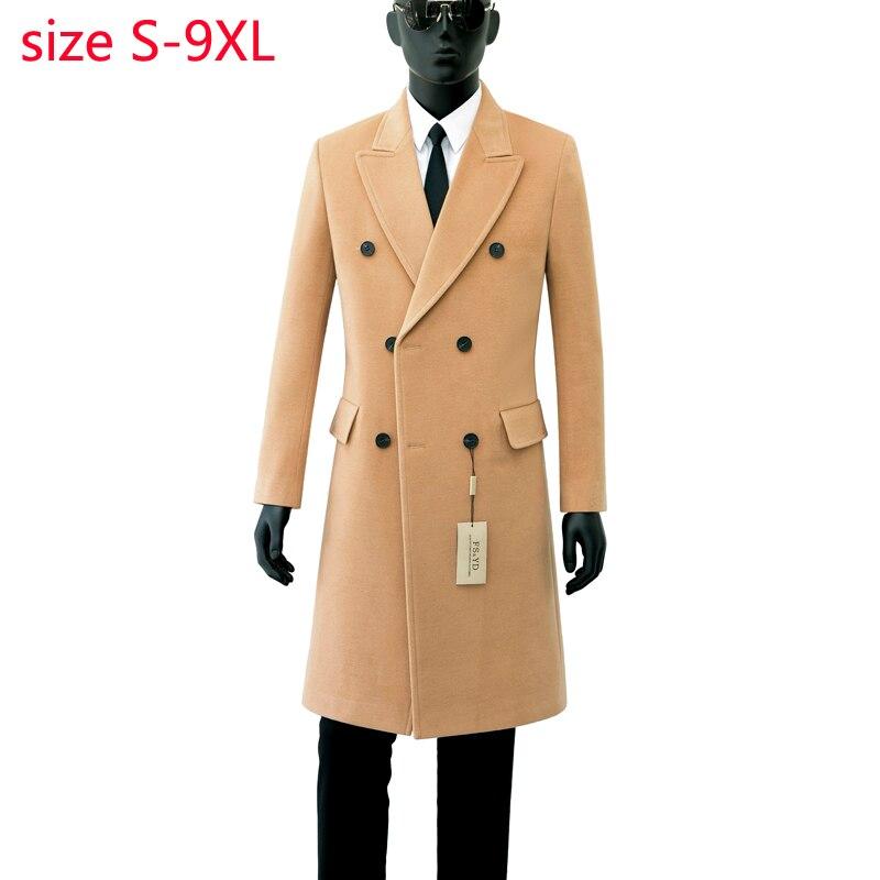 Erkek Kıyafeti'ten Yün ve Karışımları'de 2019 Yeni Varış Yüksek Kaliteli Sonbahar Yün Palto Çift Breasted Coat Erkekler Moda Trendi Rahat Kalın Süper Büyük Boyutu S 8XL9XL'da  Grup 3