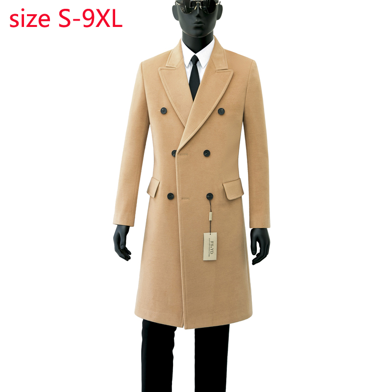 2019 جديد وصول عالية الجودة الخريف الصوف معطف مزدوجة الصدر معطف الرجال الأزياء الاتجاه عارضة سميكة سوبر كبير حجم S 8XL9XL-في صوف مختلط من ملابس الرجال على  مجموعة 3