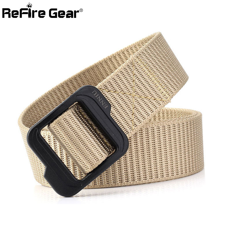 ReFire Gear Army Tactical Belt Men Military Equipment Combat Thicken Nylon Belts Casual Sturdy Webbing Soldiers Waist Belt 3.8cm