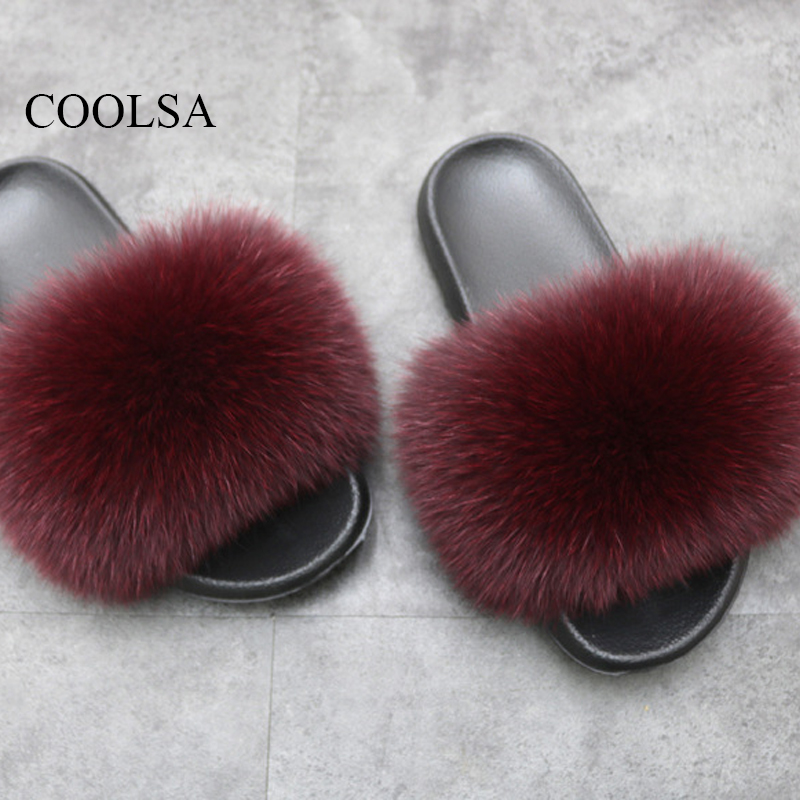 COOLSA Hot Women 39 s Fox Fluffy Slippers Winter Warm Furry Slippers Ladies Plush Fashion Indoor Flat Slippers Big Size Wholesale in Slippers from Shoes