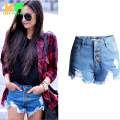 2016 Fashion American European style Short Women Solid High Wait Street Women's Denim Shorts CJZDK0006