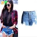 2016 Moda estilo Europeu Americano Rua das Mulheres Shorts Jeans Curto Mulheres Sólido De Alta Espera CJZDK0006
