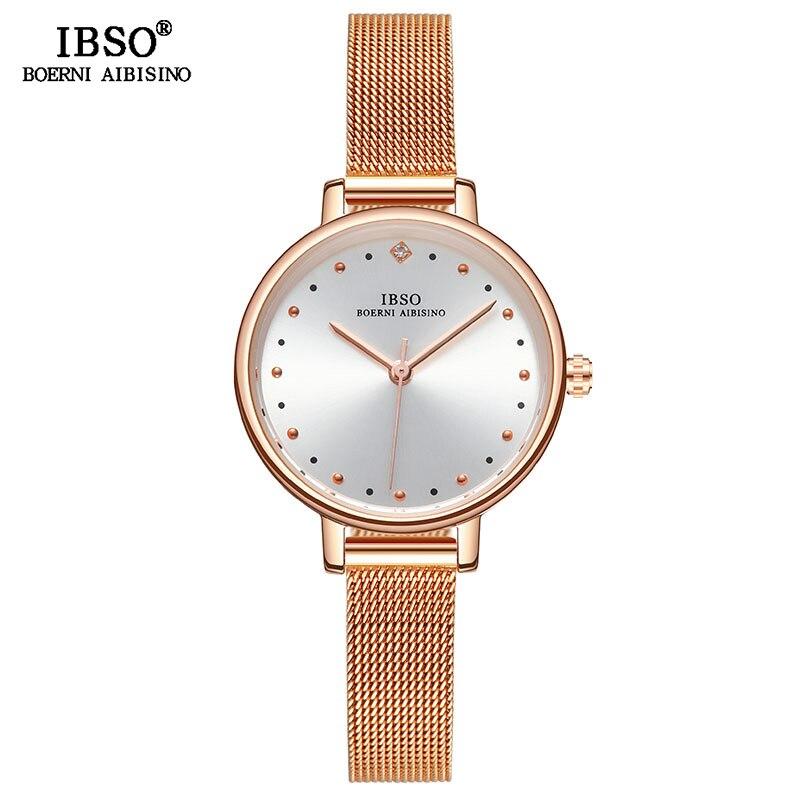 IBSO Original Watches Women Watch Stainless Steel Quartz Watch 2019 New Rose Gold Ladies Wrist Watch relogio feminino For Gift