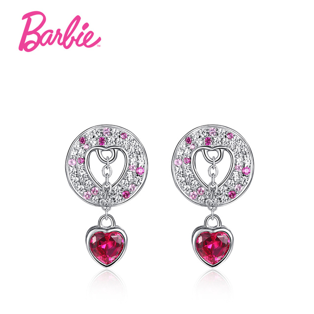 Barbie Heart Shape Hollow Stud Earring Pave Micro Colorful Aaa Swarovski Cubic Zircon Earrings For