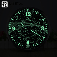 14 Inches Galaxy Luminous Wall Clock Living Room Bar Cafe Personality Loft Industrial Wind Large Decorative