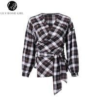 Lily Rosie Girl Women Plaid Shirts Vintage Beading Pearl Long Sleeve Blouses V Neck Wrap Asymmetric