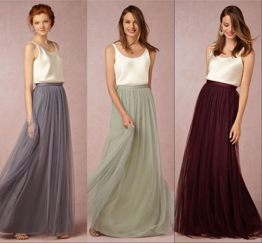 2017 new vintage two pieces long bridesmaid dresses for Two color wedding dress