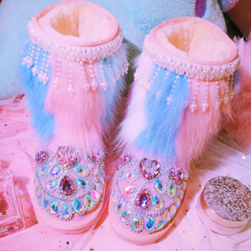 New winter cute color rhinestones pearl tassels hand warm warm snow boots in the tube thick bottom leather warm women's boots.