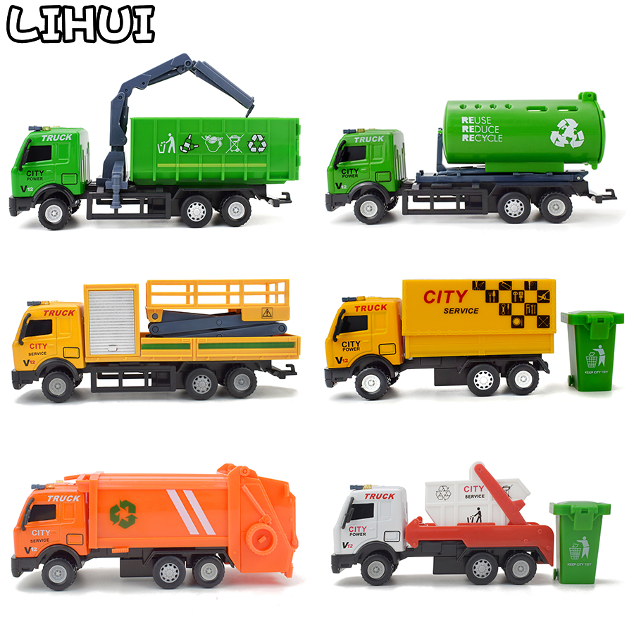 6 Kinds Alloy Urban Transport Vehicle Toys For Boys Kids Diecast Rotate Pull Back Rescue Truck Car Model Toy Gifts For Children