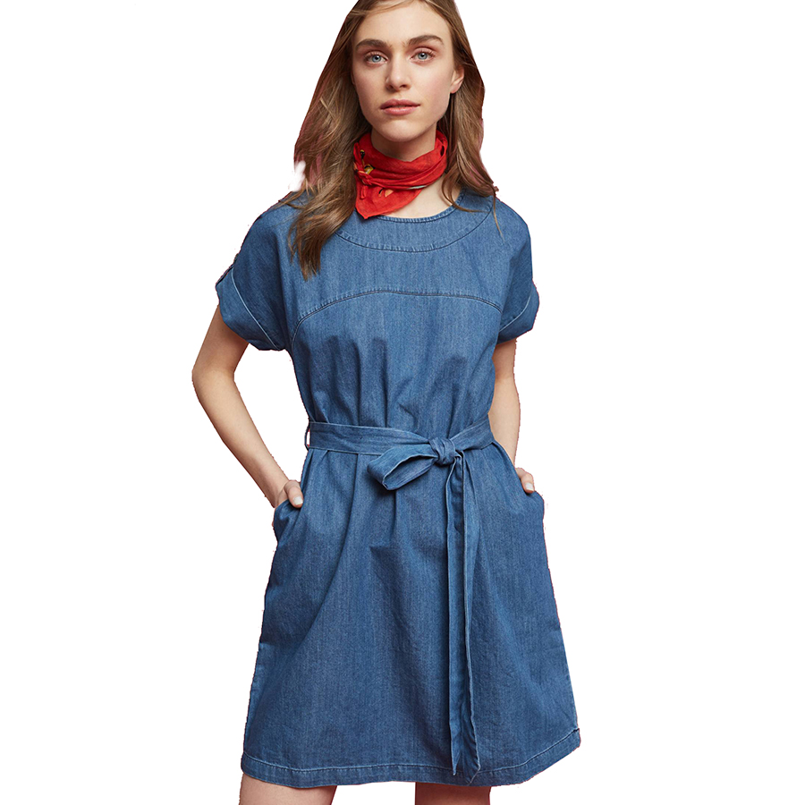 Casual Blue Denim Dress Women Short Sleeve Ladies Denim Dresses ...