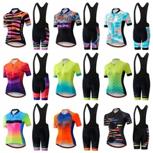 2019 Pro Team Women Summer Cycling Jersey Bib Short Set Wear Gel Breathable Pad MTB Clothes Kits Bike Clothing Road Suit